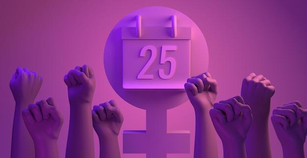 Giornata internazionale per l'eliminazione della violenza contro le donne con i pugni copia spazio 3d illustrazione