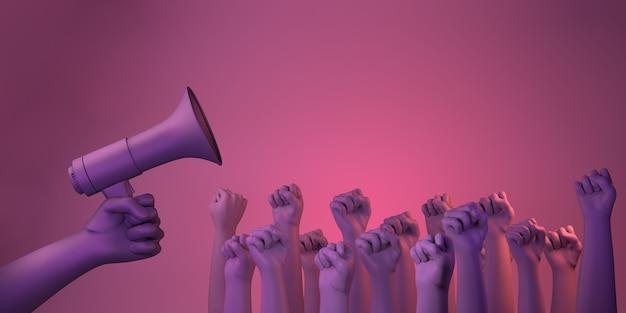 Giornata internazionale per l'eliminazione della violenza contro le donne con pugni e megafono copia illustrazione 3d
