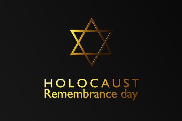 Giornata internazionale della memoria dell'olocausto, stella di david su sfondo scuro