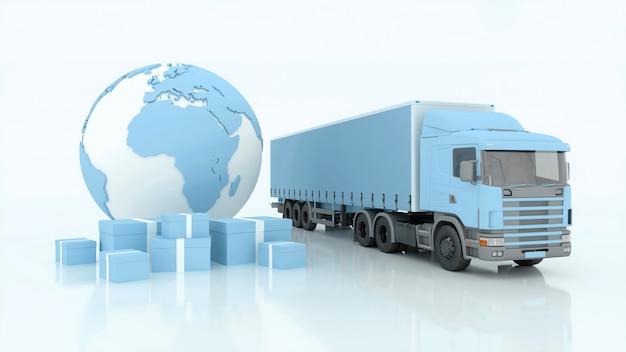 Spedizioni internazionali e consegna di merci, illustrazione 3d