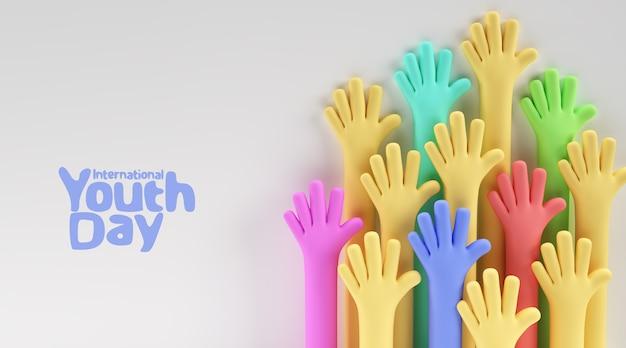 Giornata internazionale della gioventù, 12 agosto, 3d render illustration design.