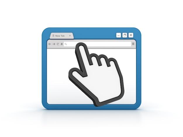 Browser internet con cursore a mano