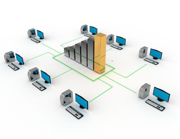 Internet business concept.desktop connesso al grafico aziendale