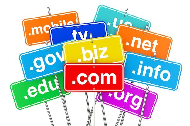 Concetto di internet. segni di colore di nome di dominio su una priorità bassa bianca. rendering 3d