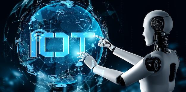 Connessione internet controllata da robot ai e processo di apprendimento automatico per analizzare la connettività dei dati e la sicurezza informatica. illustrazione 3d.