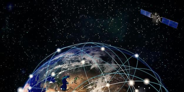 I satelliti internet orbitano intorno all'illustrazione 3d del concetto di comunicazione della tecnologia satellitare terrestre