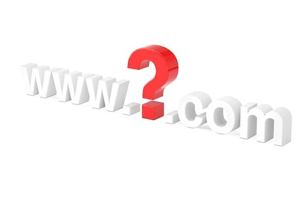 Concetto di ricerca su internet. www punto interrogativo com nome del sito su uno sfondo bianco. rendering 3d
