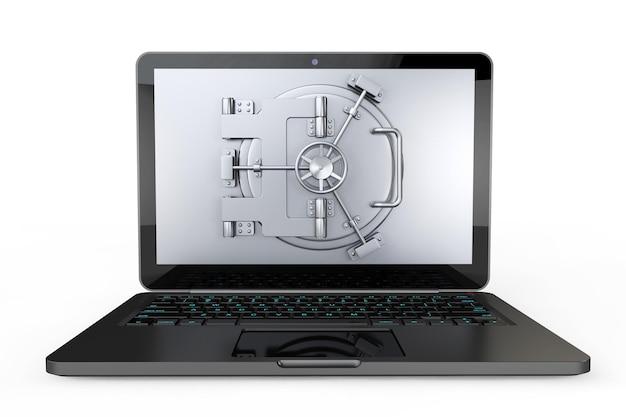 Concetto sicuro di internet. computer portatile con porta del caveau su sfondo bianco
