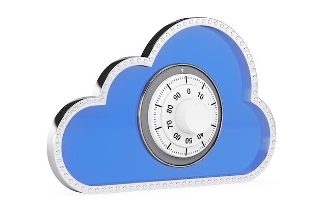 Concetto di sicurezza di internet. nuvola 3d con lucchetto su sfondo bianco