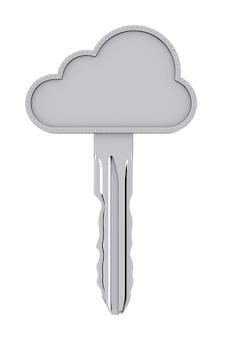 Concetto di sicurezza di internet. chiave nuvola su sfondo bianco. rendering 3d