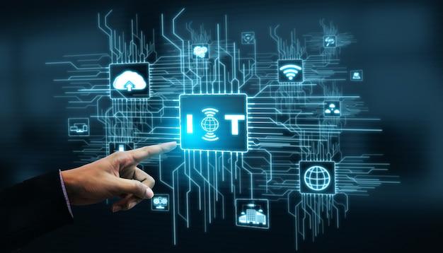 Internet delle cose e concetto di tecnologia della comunicazione. informazioni intelligenti e stile di vita digitale.