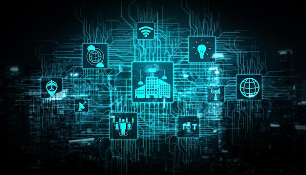 Internet delle cose (iot) e tecnologia della comunicazione dell'informazione (tic) nella costruzione di una città moderna.