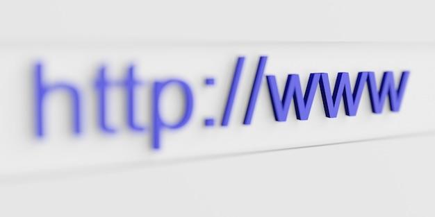 Indirizzo web internet url http www nella barra di ricerca del browser in primo piano. rendering 3d al computer