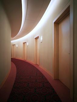 Interrior del luminoso complesso alberghiero, corridoio. sala rotonda in stile art déco con porte. rendering 3d