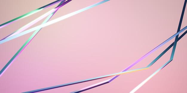 Sfondo di linee rette intersecanti illustrazione 3d di sfondo rosa neon riflettente arcobaleno