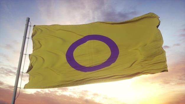 Bandiera dell'orgoglio intersessuale che sventola nel vento, nel cielo e nello sfondo del sole. rendering 3d