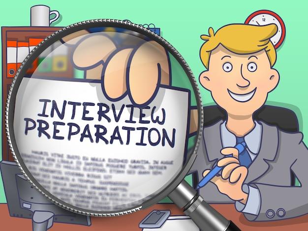 Preparazione dell'intervista su carta in mano di officeman attraverso la lente di ingrandimento per illustrare un concetto di business. illustrazione di linea moderna multicolore in stile doodle.