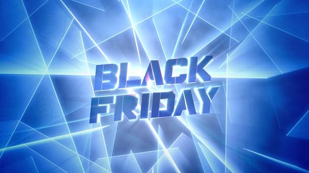 Testo introduttivo black friday e linee al neon rosse, sfondo astratto. illustrazione 3d in stile club dinamico elegante e di lusso