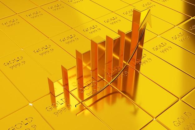 Investire in azioni d'oro, concetto di commercio dell'oro, commercio di rifugio sicuro, rendering di illustrazioni 3d