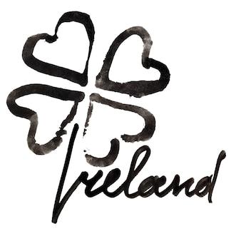 Irlanda. quadrifoglio irlandese e scritte su sfondo bianco