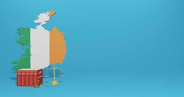 Legge irlandese per infografica, contenuti dei social media nel rendering 3d