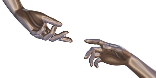 La mano del robot della mano di ferro raggiunge per incontrarsi