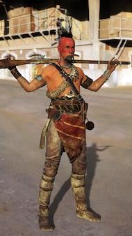 Irochesi con armi. illustrazione 3d