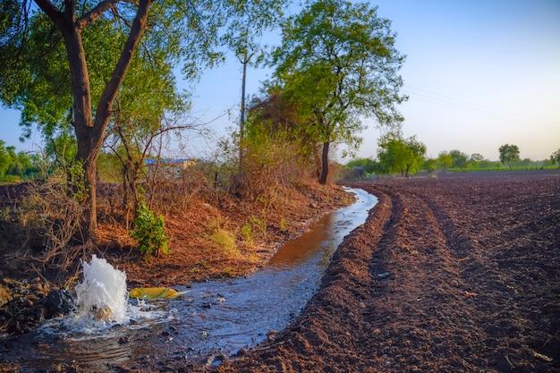 Flusso d'acqua di irrigazione dal tubo al canale per campi agricoli, acqua al rallentatore