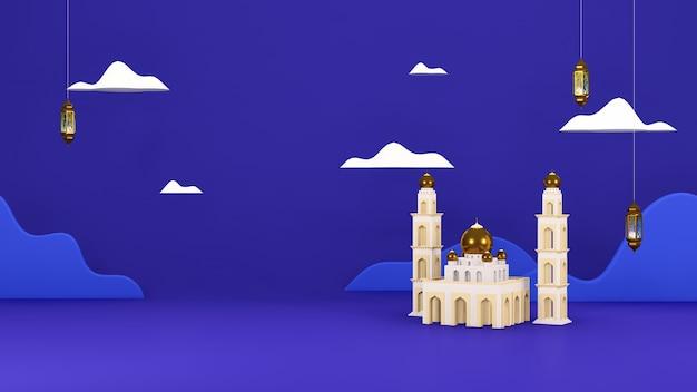 Islamic 3d render arabo eid mubarak sfondo musulmano a tema vacanza con lampada araba nuvola moschea