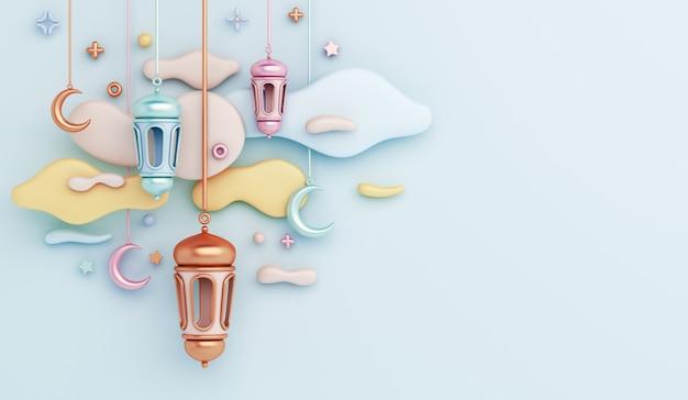 Fondo islamico della decorazione con lo spazio della copia della nuvola a mezzaluna della lanterna araba Foto Premium