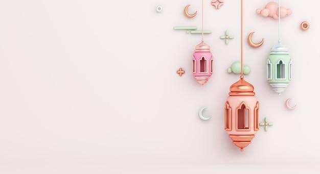 Sfondo decorazione islamica con spazio copia mezzaluna lanterna araba