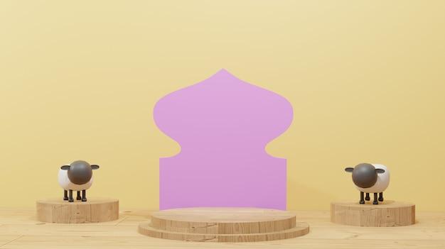 Sfondo di design islamico con pecore per sacrificio e podio in legno adatto per eid al adha
