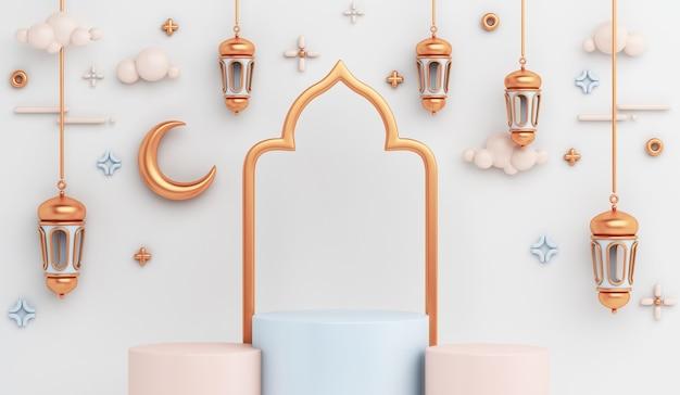 Decorazione del podio dell'esposizione islamica con mezzaluna di lanterna araba
