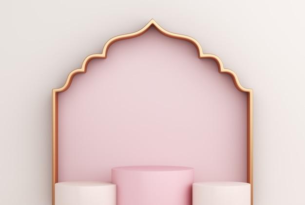 Podio di visualizzazione islamica con cornice della finestra araba