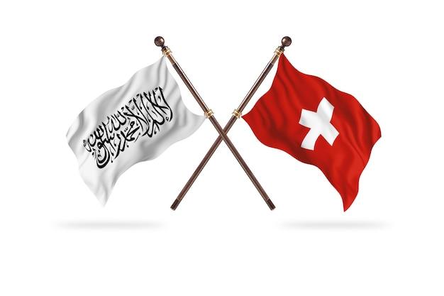 Emirato islamico dell'afghanistan contro la svizzera due bandiere background