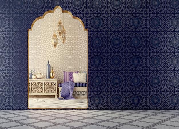 Interior design in stile islamico con arco e motivo arabo