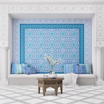 Interior design del soggiorno in stile islamico con motivo arabo