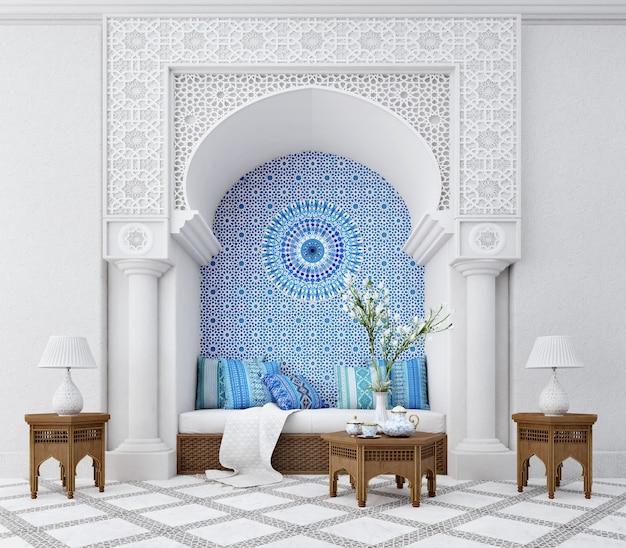 Interior design del soggiorno in stile islamico con arco e motivo arabo