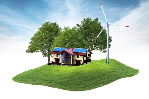 Isola con casa e generatore eolico fluttuante nell'aria