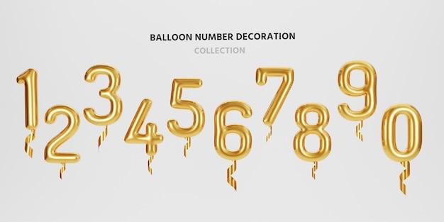 Isolare il palloncino metallico numero dorato da 0 a 9 su sfondo bianco per decorare buon natale, felice anno nuovo, san valentino e festa di compleanno con rendering 3d.