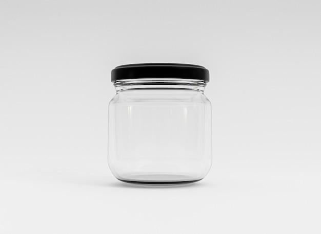 Isolare il barattolo chiuso in vetro trasparente con coperchio nero su sfondo bianco mediante rendering 3d.