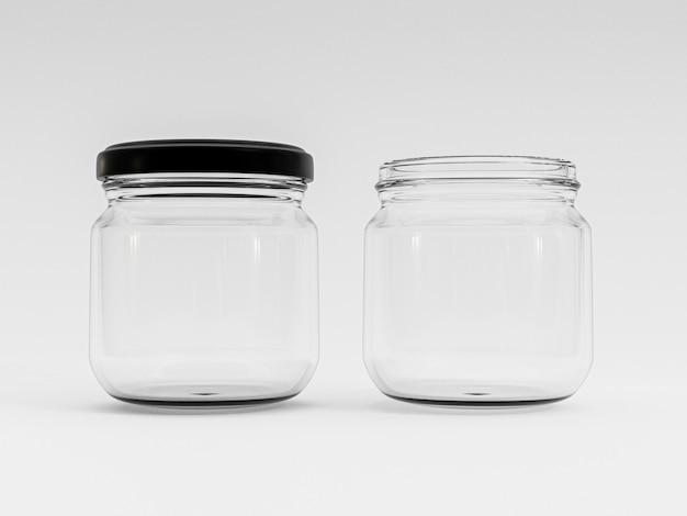 Isolare il barattolo aperto e chiuso in vetro trasparente con coperchio nero su sfondo bianco mediante rendering 3d.