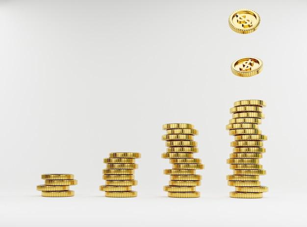 Isolare le monete del dollaro usa che cadono su monete d'oro impilate su sfondo bianco per il concetto di deposito di risparmio finanziario bancario e di investimento mediante rendering 3d.