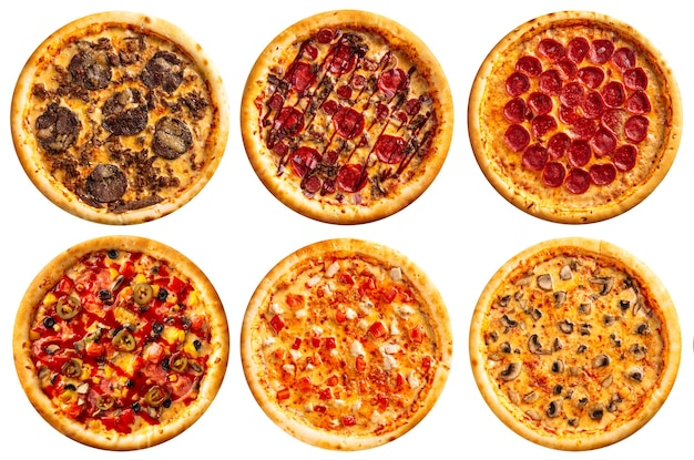 Varietà assortita isolata di disegno del menu del collage delle pizze sui precedenti bianchi