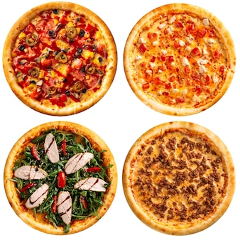 Varietà assortita isolata di disegno del menu del collage delle pizze
