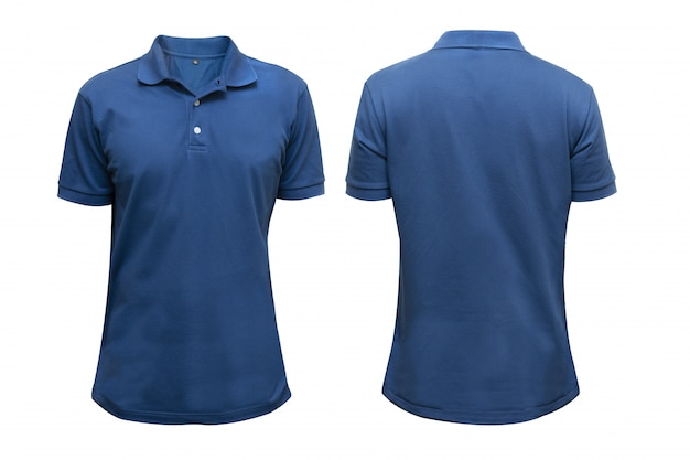Camicia blu davanti e dietro in bianco isolato per il design grafico mock up