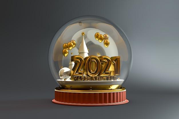 Palla di natale isolata con il nuovo anno 2021 in oro all'interno su sfondo grigio