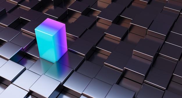 Blocco cubo colorato isolato tra gli altri neri. rendering 3d