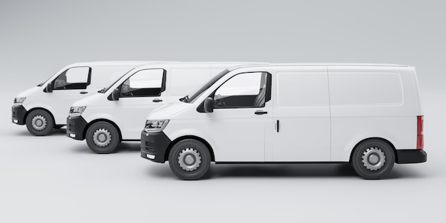 Consegna isolato tre furgoni 3d'illustrazione