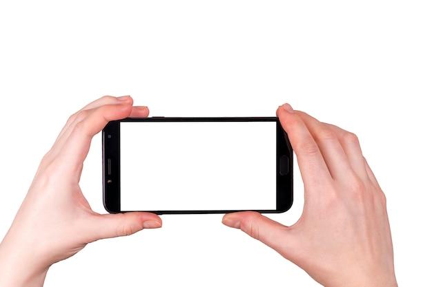 Mani isolate con il telefono. idea di business fotografico